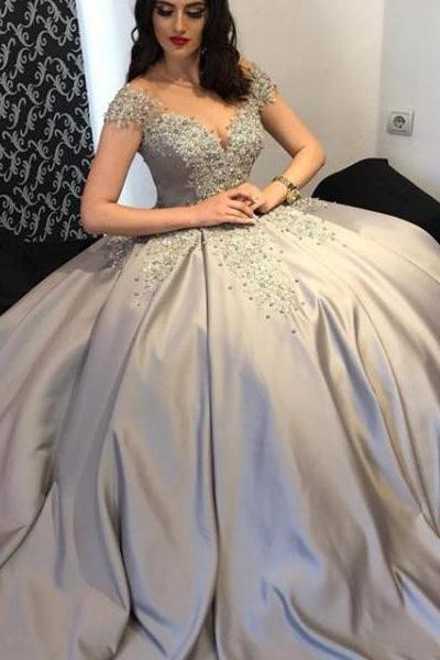 Elegant Ball Gown Off-The-Shoulder Cap Sleeves Long Prom/Evening Dress With Appliques,Floor Length Evening Dresses,Zipper Women Party Gowns,Prom Dresses,Evening Gowns