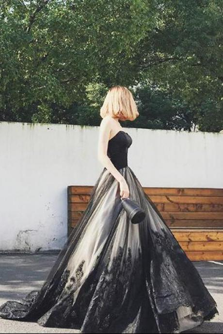 Charming A-Line Wedding Dress,Sweetheart Black Wedding Dresses,Long Prom Dress ,With Lace Beading Bridal Dress,Floor Length Evening Dresses,Zipper Women Party Gowns,Prom Dresses,Evening Gowns