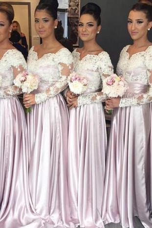 Long Sleeves Lace Bridesmaid Dress,Bodice Cheap Bridesmaid Dresses ,Sweetheart Appliques Bridesmaid Dress,Long Elegant Arabic Maid of the Honor Dresses