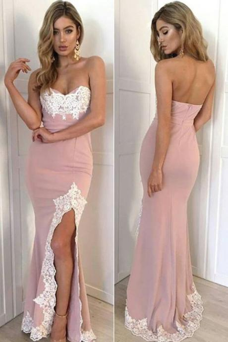 Pink Fitted Prom Dress, Sweetheart, Slit, Formal Gown, With Lace Appliques, sweetheart prom dresses,Evening Dress, Prom Gowns, Formal Women Dress,prom dress