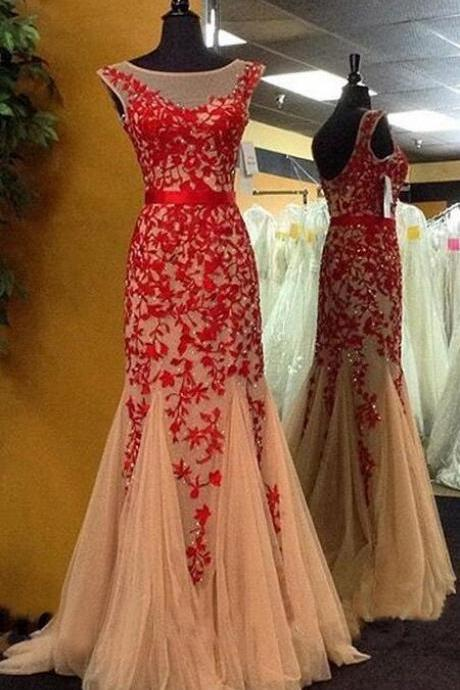 Mermaid Red Prom Dress,Tulle Prom Dress,Sexy prom Dress,Lace Evening Dress,Sexy Prom Dress,Red Lace Prom Gown,Long Prom Dresses,Prom Dresses,Evening Dress, Prom Gowns, Formal Women Dress,prom dress
