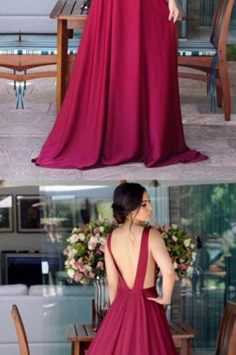 Sexy Bridesmaid Dress,Deep V-neck Prom Dress,Long Satin Prom Dress,Open Back Bridesmaid Dresses, Burgundy Prom Dresses