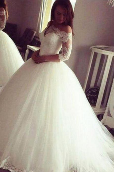Charming White Wedding Dress,Tulle Appliques Half Sleeve Wedding Dress,Ball Gown Wedding Dresses, Bridal Dresses