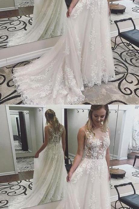 Charming Wedding Dress, Sexy Appliques Wedding Dresses, Tulle Bridal Dresses, Formal Women Dress,prom dress