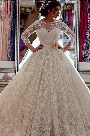 Ivory Plus Size Wedding Dress ,Long Sleeves Lace Wedding Dresses,Sheer Vintage Church-Train Wedding Dresses,Illusion Ball-Gown ,Luxury Bridal Gowns
