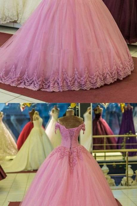 Pretty Lace Appliques Evening Dresses,V-neck Tulle Ball Gowns Quinceanera Dresses,Evening Dress