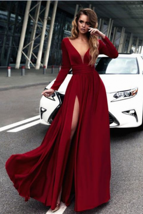 Gorgeous Burgundy Long Prom Dresses, Long Sleeves Prom Dress,Formal Evening Dress