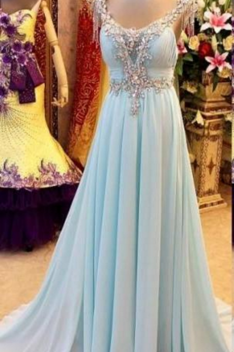 Ball gown with a light blue chiffon dress v-neck with a sleeveless ball gown, evening gown