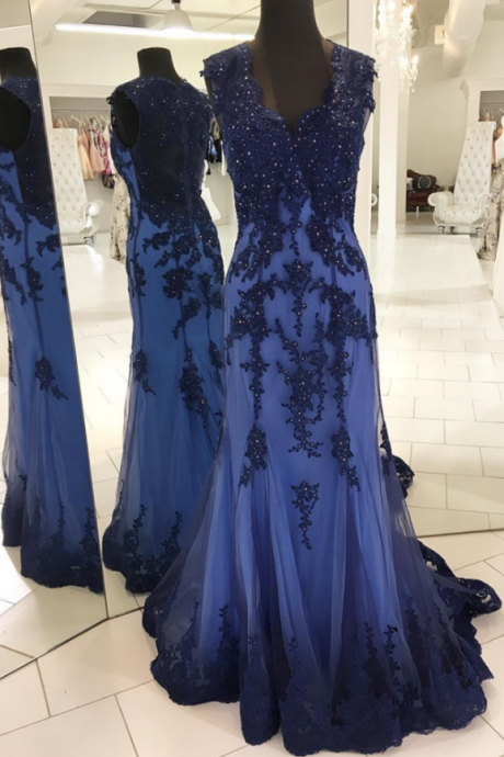 navy blue evening gowns,mermaid prom dress,mermaid evening dress,elegant prom dress,lace appliques prom dress