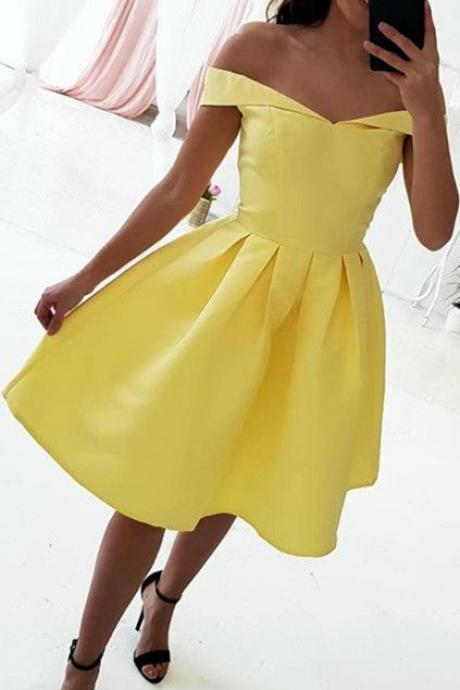 Off the Shoulder Short Yellow Homecoming Dress,Prom Dress, Evening Dress