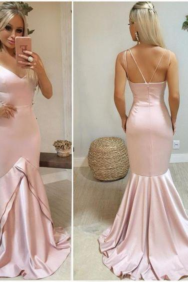 Long prom dress, custom made charming evening dress,V Neck Mermaid Prom Dress with Double Straps