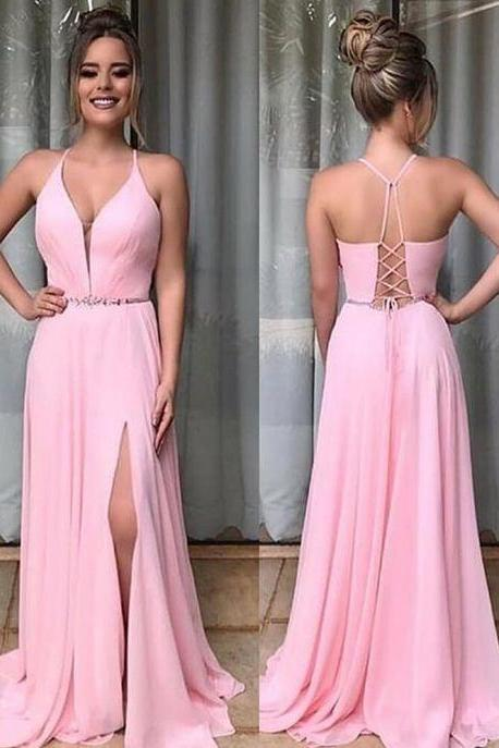 Pink Chiffon Prom Dresses with Split