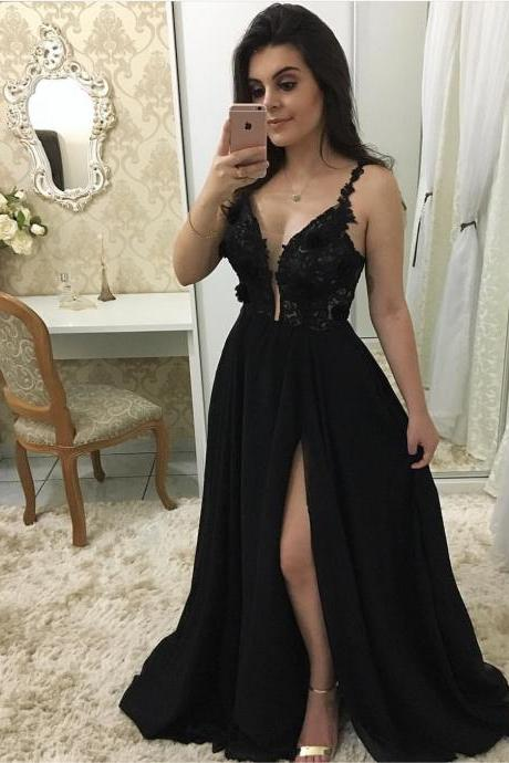 Sheer Plunging Neck Black Chiffon Prom Dress with Split,evening dress