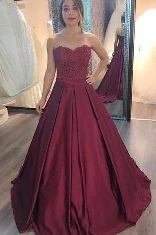 Sleeveless Sweetheart Satin Lace Ball Gown Prom Dress,evening dress