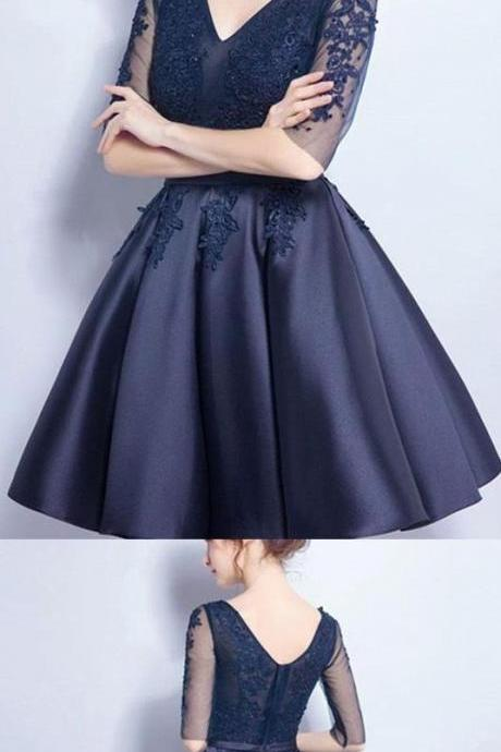 Short Prom Dresses, Sexy Prom dresses, Prom Dresses Short, Navy Prom Dresses, Prom Short Dresses, Homecoming Dresses,evening dress