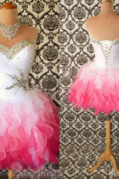 Custom Made White/Pink Short Prom Dresses, Short Homecoming Dresses, Party Dresses