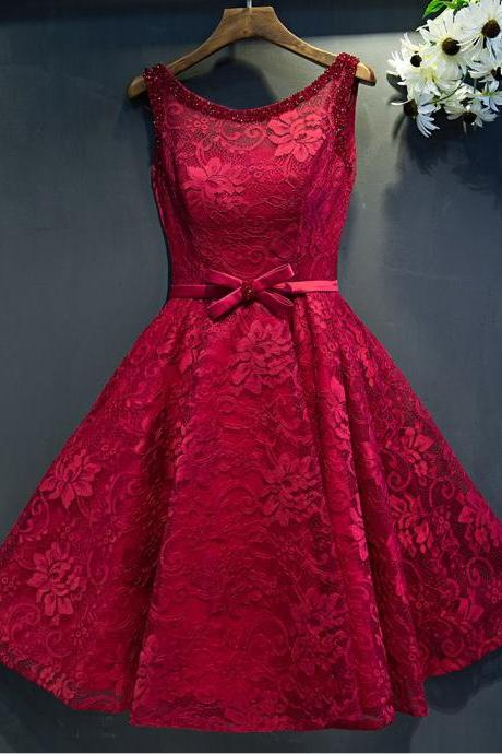 Red Lace Round Neck Short Homecoming Dresses, Woman's Short Evening Dresses, Short Prom Dresses