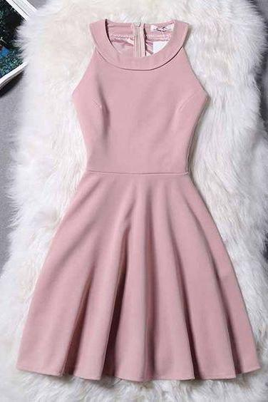 Halter Neck Short Skater Dress,Homecoming Dresses,Satin Short Prom Dresses,evening dress