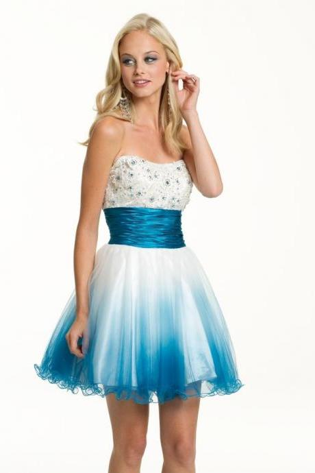 Strapless Short Prom Dress,Blue Cocktail Dress, Short/Mini Chiffon Cocktail Dresses,Short Homecoming Dress