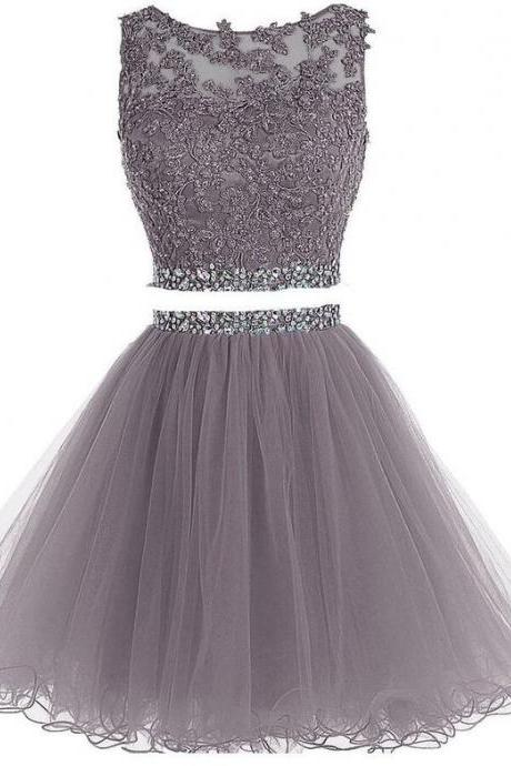 Two Pieces Short Beaded Prom Dress, 2 Pieces Short Homecoming Dresses, Short Beading Pom Dresses, Tulle Applique Homecoming Dress