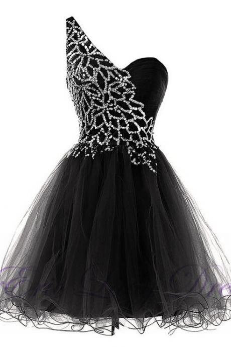 Luxury Black Beaded One Shoulder Mini Prom Dresses, Short Evening Dresses ,Graduation Cocktail Dresses, Real Photo Women Party Dresses ,Formal Gowns