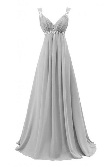Sexy Gray Bridesmaid Dress,Floor Length A Line Gray Bridesmaid Dresses,Elegant Long Cheap Prom Dresses Party Evening Gown