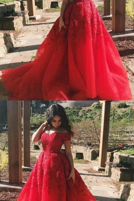 A-Line Off the Shoulder Prom Dresses,Court Train Red Tulle Prom Dress with Lace, glamorous red off the shoulder evening gowns, elegant tulle long prom dresses with lace