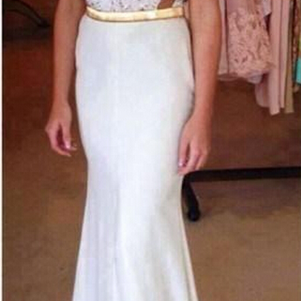 Long prom dress, ivory prom dress, charming prom dress, gorgeous prom dress, junior prom dress, unique prom dress