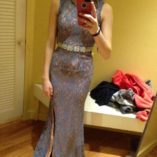 Lace Crew Neck Sleeveless Floor Length Trumpet Prom Dress Featuring Slit and Beaded Embellished Belt, Formal Dress