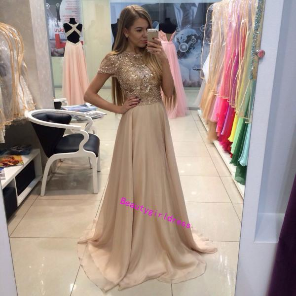 Charming Prom Dress,Chiffon Prom Dress,Sexy Prom Dress,Cap Sleeve Prom Dress,Beading Prom Dress