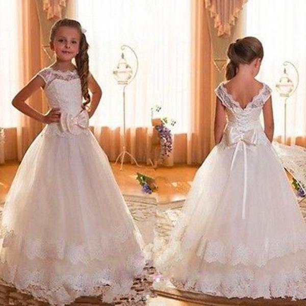 White/Ivory Girl First Communion Dresses Kids Party Prom Princess Pageant Bridesmaid Dress Wedding Flower Girl Dresses with Bows