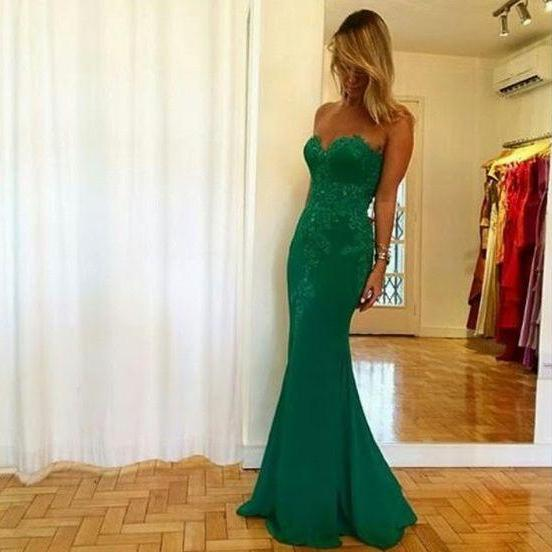Green Mermaid Prom Dresses,Sweetheart Prom Dresses,Mermaid Evening Dresses,Long Mermaid Party Dresses,Green Prom Dresses,Sexy Party Dresses,Appliques Formal Gowns
