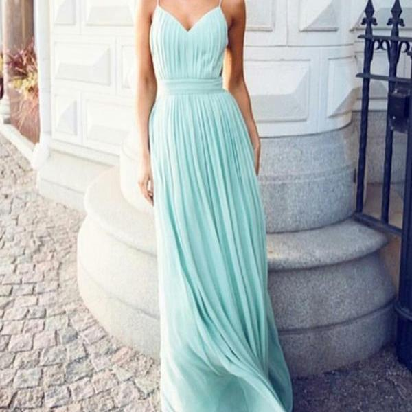 Blue Chiffon Prom Dresses,Simple Prom Dresses,A-line Prom Dresses,Long Chiffon Prom Dresses,Chiffon Party Dress,V-neck Prom Dresses,Backless Chiffon Party Dresses,Chiffon Homecoming Dresses,Chiffon Graduation Dresses
