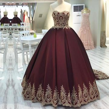 Gold Lace Edge Sweetheart Wedding dresses,Wine Red Ball Gowns Wedding dress,Quinceanera Dresses