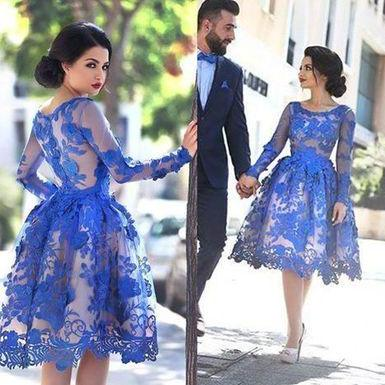 Cute blue lace homecoming dress,short prom dress,blue evening dress,homecoming dresses