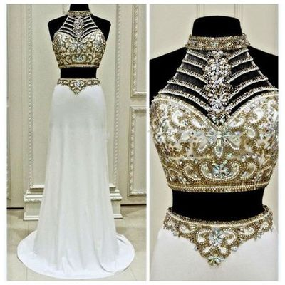 White two pieces prom dresses,beading long prom dress,formal dresses