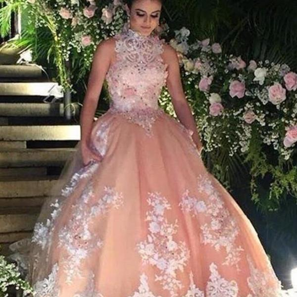 Vintage Champagne Prom Dresses,Quinceanera Dress For 15 Year Girls, Lace Prom Dress,High Neck Ball Gown Lace Quinceanera Dress, Puffy 15 Year Girls Party Dresses, Sleeveless Vintage 16 Year Birthday Party Dress,