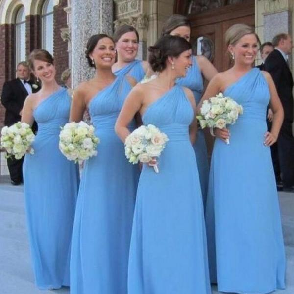 Long Bridesmaid Dress, Chiffon Bridesmaid Dress,Sky Blue Bridesmaid Dresses ,One Shoulder Bridesmaid Dress, Empire Waistline Party Dresses, A Line Bridesmaid Dress, Plus Size Bridesmaid Dress, Cheap Wedding Party Dress Under 100. Maid Of Honor Dress