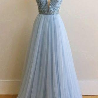 V Neck Prom Dresses,Long Prom Gown,beaded prom dresses,blue prom dresses,chiffon dress