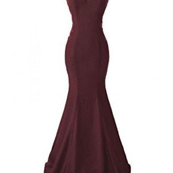 Burgundy Applique Prom Dress, Long Mermaid Prom Dresses, Evening Dresses