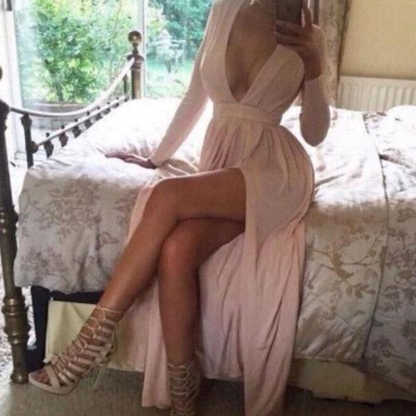 New Arrival Prom Dress,Modest Prom Dress,Long Sleeve Deep V neck Prom Dress,Sexy Pink Evening Dresses