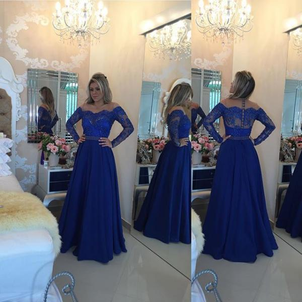 Prom Dresses,Prom Dress,Sparkly off the shoulder Long Sleeve Evening Gown A-Line Lace Chiffon royal bllue Prom Dress