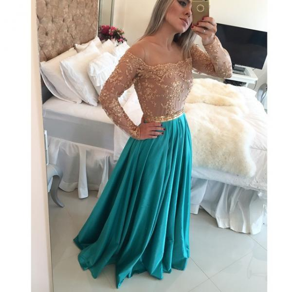 Prom Dresses,Prom Dress,Sparkly off the shoulder Long Sleeve Evening Gown A-Line Lace Chiffon blue Prom Dress