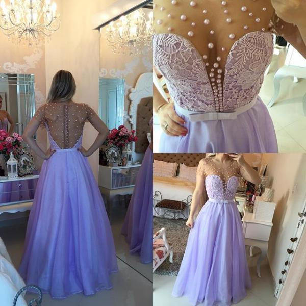 Modest Prom Dresses,Sexy New Prom Dress,Short Sleeve Lavender Lace Prom Dress with beadings Floor Length Prom Dresses