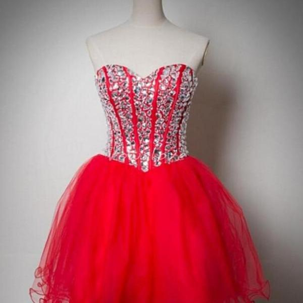 Red Homecoming Dress,Short Homecoming Dresses,Tulle Homecoming Gown,Party Dress,Sparkle Prom Gown,Cocktails Dress,Bling Homecoming Dress