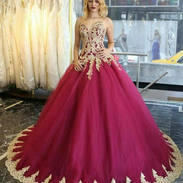 Gold Lace Appliques Sweetheart Burgundy Floor Length Tulle Wedding Gown Featuring Train