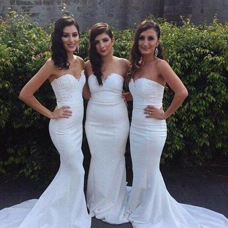 Mermaid White Bridesmaid Dresses,Long Sweetheart Sleeveless Bridesmaid Dress,Lace Top Custom Colors Cheap Maid of Honor Gowns for Weddings