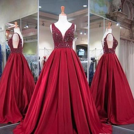 Burgundy Ball Gowns Prom Dresses, for Pageant Women Prom Dress,Wear Sexy V Neck Prom Dress,Real Photos Special Occasion Formal Party Gowns with Stones