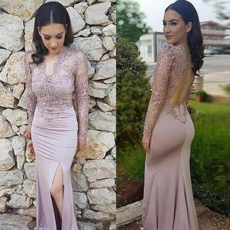 Mermaid V Neck Prom Dress,Long Sleeve Prom Dresses, Floor Length Evening Gowns,With Lace Applique Split Open Back Party Gowns