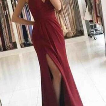 Simple Cheap Prom Dress,Red Prom Dresses,chiffon prom dresses,v-neck prom dress with slit, sexy prom dresses,long evening dress,prom dress,simple prom dress